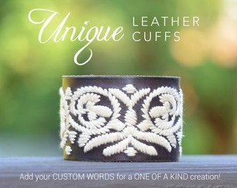 Embroidered Leather cuff, upcycled leather cuff, reclaimed leather belt, unique leather cuff, Love Squared Designs