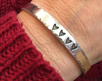 Better together bangle -  skinny metal cuff bracelet - hearts - inspirational jewelry - better together - mothers day - Love Squared Designs