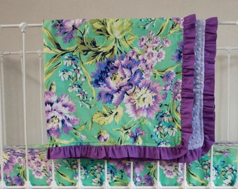 Floral Emerald Purple Lavender Green Designer Baby Blanket made with Love Bliss Bouquet Fabric