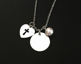Cross Necklace. Personalized Cross Necklace. Stainless Steel Necklace. White Pearl Necklace. Religious Necklace. Baptism Jewelry.