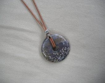 Jasper Pendant/ Stone Pendant/ Adjustable Leather Pendant/ Donut Pendant