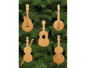 Country Music Christmas Ornament Set: Guitar, Banjo, Fiddle, Mandolin, Bass