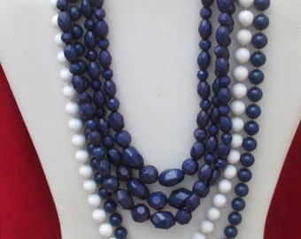 Lot Of Retro Navy Blue & White Necklaces