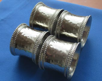 Vintage Hammered Look Stainless Steel Napkin Rings Set Of Four