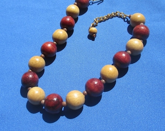 Vintage Wood Beaded Brown Beige Necklace