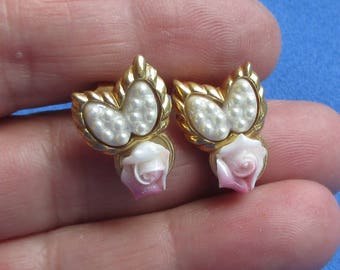 Vintage Pink Porcelain Rose Faux Pearl Pierced Earrings
