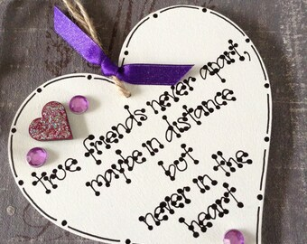 Wooden Heart Keepsake Gift  Friend - Friendship Birthday Bridesmaid Hanging Decoration Jute Twine String Silver Ribbon