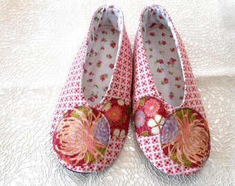 SHOES woman T38/39 small pink designs and yoke Flower Pink