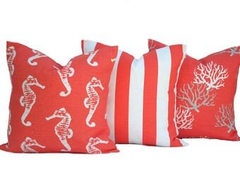 three nautical pillow covers decorative throw pillow decorative pillow accent pillow coral - Coral Decorative Pillows