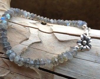 Labradorite Bracelet, Sterling Silver, Karen Hill Tribe Flower Charm, Semi Precious Gemstone, Gemstone Jewellery, Gift for Her