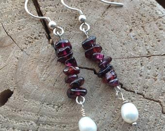 Garnet Earrings, Burgundy Earrings, Freshwater Pearl, Natural pearl, Drop Earrings, 925 Sterling Silver.