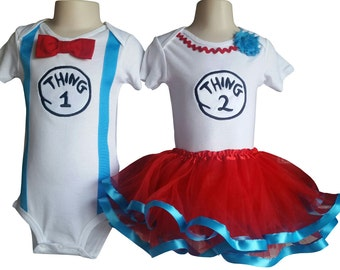 Boy Girl Twin Outfits Thing 1 and Thing 2 Tutu