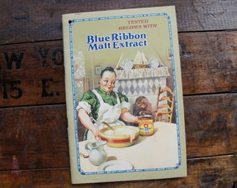 Blue Ribbon Malt Extract Recipe Booklet ~ Advertising ~ 1928 ~ Vintage Cookbook