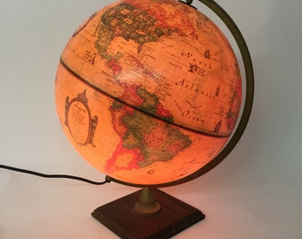 1980s Danish Illuminated World Globe