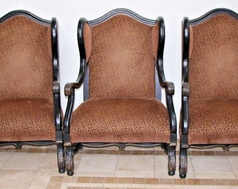 Large set Oversized Custom Made Italian art nouveau Open Armed Wing Back Chairs, Safe nation wide shipping available