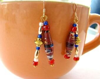 Dangle Earrings, Beaded Earrings, Paper Bead Earrings, Drop Earrings, Bead Earrings