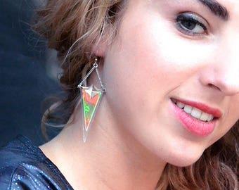 Grunge holographic long earrings | Geometric triangles sterling silver earrings | Aesthetic UFO glass earrings |  90's Tumblr earrings
