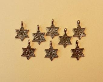 "SALE Miniature Sterling Silver 11/16"" By 1/2"" Star Of David, Magen David, Hexagram, Seal Of Solomon, Talisman, Pendant, With Hanging Loop"