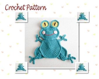 Crochet Pattern Frog Applique Animal Applique Crochet Applique Embellishment Accessories Ornament Scrapbooking Motif Fridge Magnet