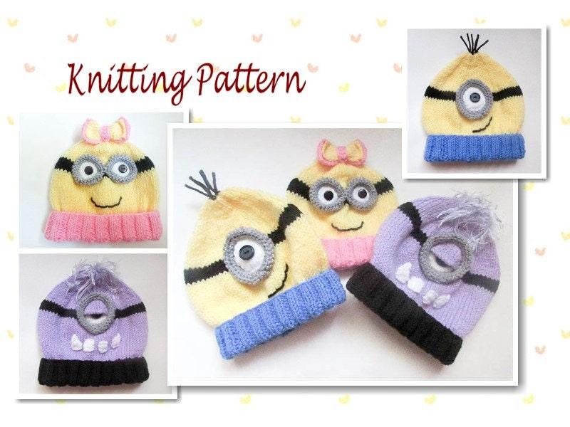 Knitting Pattern For Minion Beanie : Knitting Pattern Minion Hat PATTERN Baby Beanie minion hat