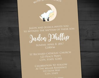 Little Lamb Baptism Invitation - Beige First Communion Invite - Naming Day - Christening - Confirmation - Printable or Printed - 4x6