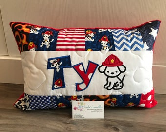 New! Fireman puppy pillow, hero, personalized pillow case, 12x18 inches