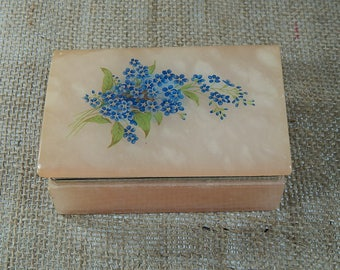 Vintage Forget me knot Glass Trinket Box Pink Blue