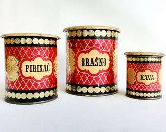 Vintage Kitchen Cans, Set of 3 Tin Canisters, Kitchen Containers, Made in Yugoslavia