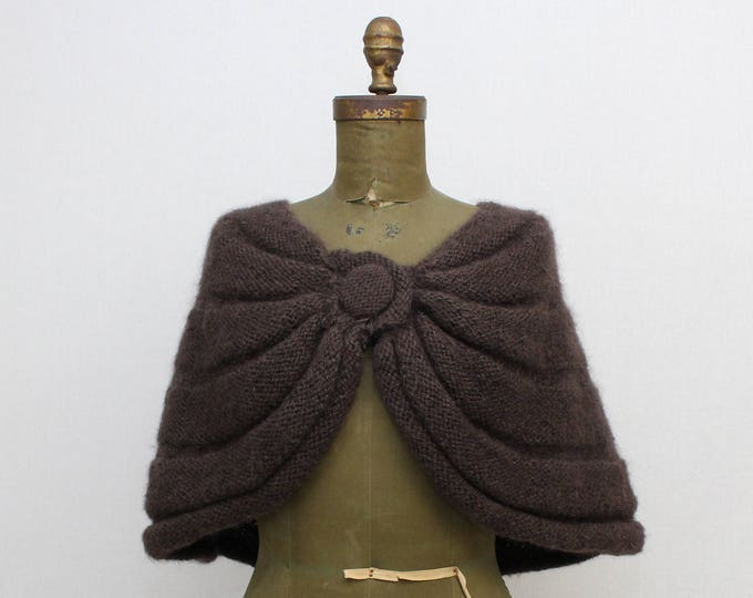 Brown Wool Wrap Shawl - Vintage 1960s Alpaca Wool Bolero Jacket