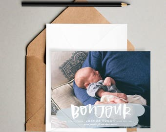 Cloud // Printable Birth Announcements // Hand lettered photo card, 5x7 birth announcement printable, modern birth announcements