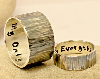 Couples Ring - Wedding Ring Set - Set of two Sterling Silver Bands- Handmade - Hammered - My Only My Everything - Personalized Hand Stamped