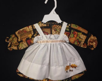 Dress and Apron for 25 inch Raggedy Ann Doll, Fall, Harvest print dress, Embroidered Apron, Doll clothes