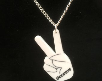 "Walking Dead Abraham Ford  ""PEACE SIGN....GOODBYE' laser cut Acrylic necklace"