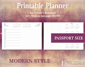 PP 2017 WOTP, Modern Style, Week on two pages printable diary insert for Traveler's Notebook