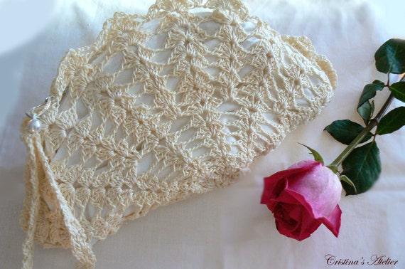 Giada shell crochet purse- Vintage inspired crochet clutch- Bridal lace white crochet purse- Wedding elegant crochet bag- Valentine's gift