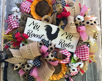 My Roost My Rules Wreath, Country Kitchen Wreath, Farmhouse Wreath, Rooster Wreath, Country Kitchen Decor, Country Wreath, Farmhouse Decor