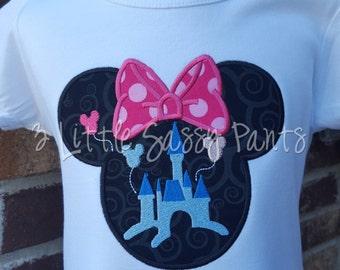 Minnie Mouse Castle Embroidered Shirt- Minnie Mouse Applique- Custom Disney Shirt- Magic Kingdom Shirt- Pink- Minnie Mouse Shirt