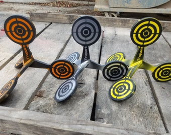 These shooting targets roll over when shot! Super portable! AR 500 steel shooting targets are made to last!