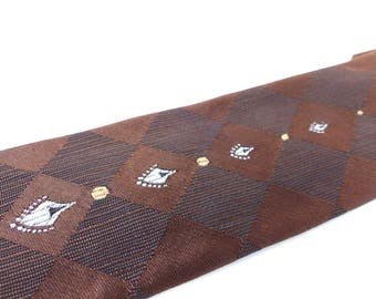 Authentic old school silk skinny tie by Beau Brummel. Dark chocolate brown with woven diamond pattern & beautiful icon details