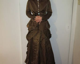 Greatly Reduced price Antique victorian two piece brown silk walking dress