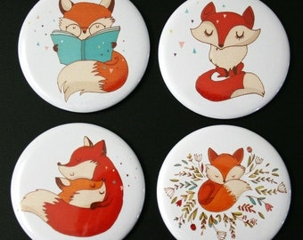 Cute Foxes Fridge Magnet Set of 4 fox woodland gift