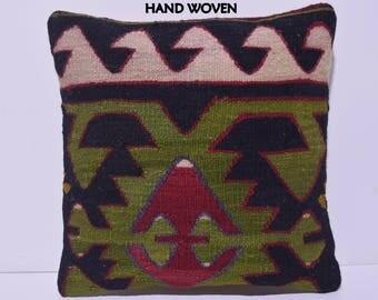 18x18 nomad decorative pillow origin throw pillow interior kilim pillow design pillow cover obsolescent pillow case motif sofa pillow C1740