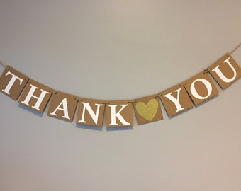 Thank you banner, wedding banner, photo prop, thank you chipboard banner