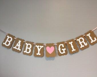 It'a a girl banner, baby girl banner, kraft banner, rustic shower banner