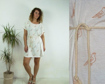 90's vintage women's white dove printed minimal chic tunic dress