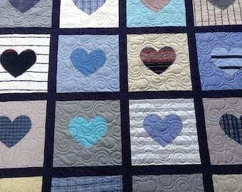 Memorial hearts quilt