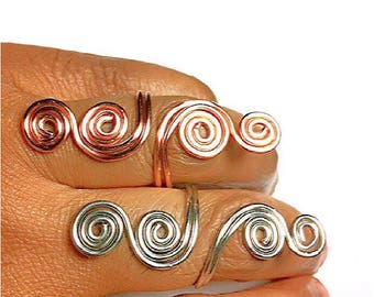 Statement Ring Copper Ring Gold Ring Silver Ring, Spiral Ring, Knuckle to Knuckle Ring, Scroll Ring, Wire Wrapped Ring, Elongated Ring