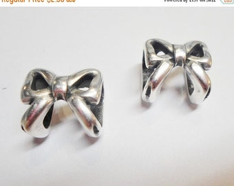 SALE: 2 Bow Sliders for Licorice Leather Bracelets in Antique Silver