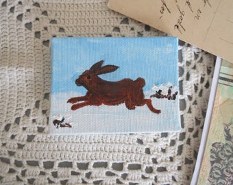 Doll House Painting Rabbit Hare Miniature