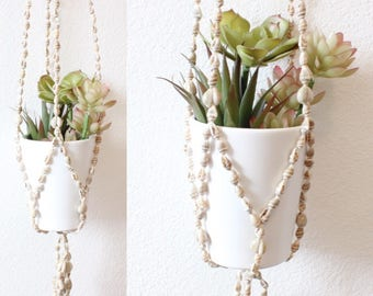 Vintage Seashell Hanging Planter Plant Holder Boho Home Decor